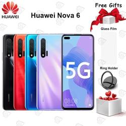 Oringal Huawei Nova 6 5G мобильный телефон 6,57 дюймов 8 ГБ ОЗУ 128 Гб ПЗУ Kirin 990 Восьмиядерный Android 10 40MP AI камеры смартфон