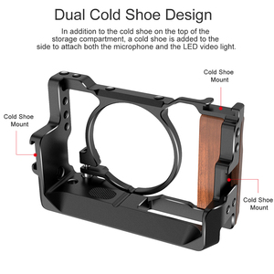 Image 5 - UURig Metall Kamera Vlog Käfig für Sony RX100 VI/VII Dual Kalt Schuh Ganz Release Platte mit Holz Handgriff 1/4 schraube Zubehör