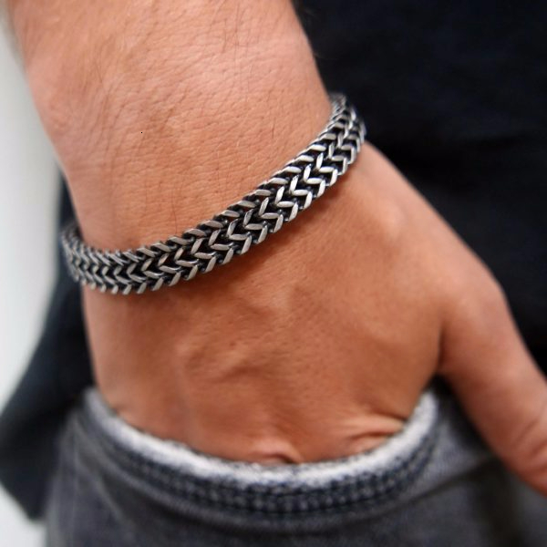 Vnox Vintage Cool Double Curb Chain Bracelets for Men Stainless Steel Punk Cubic Chain Male Pulseira