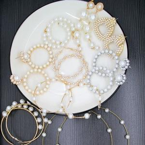 Женские серьги с жемчугом Watti, белые вечерние свадебные украшения для клуба, 2019