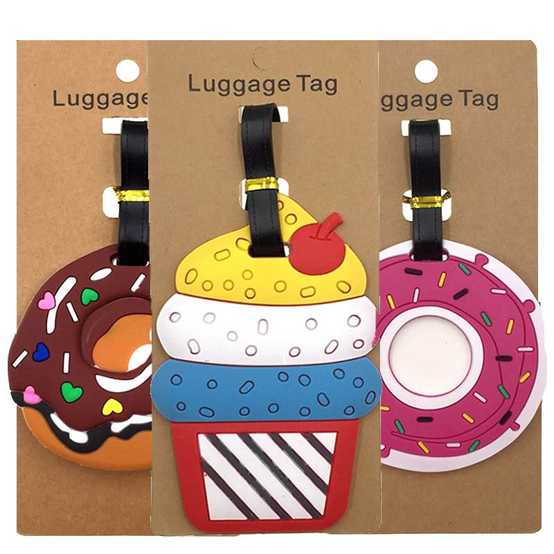 Travel Accessories Cartoon Cake Donut Luggage Tags Suitcase ID Addres Holder Portable Label Silica Gel Women Baggage Boarding