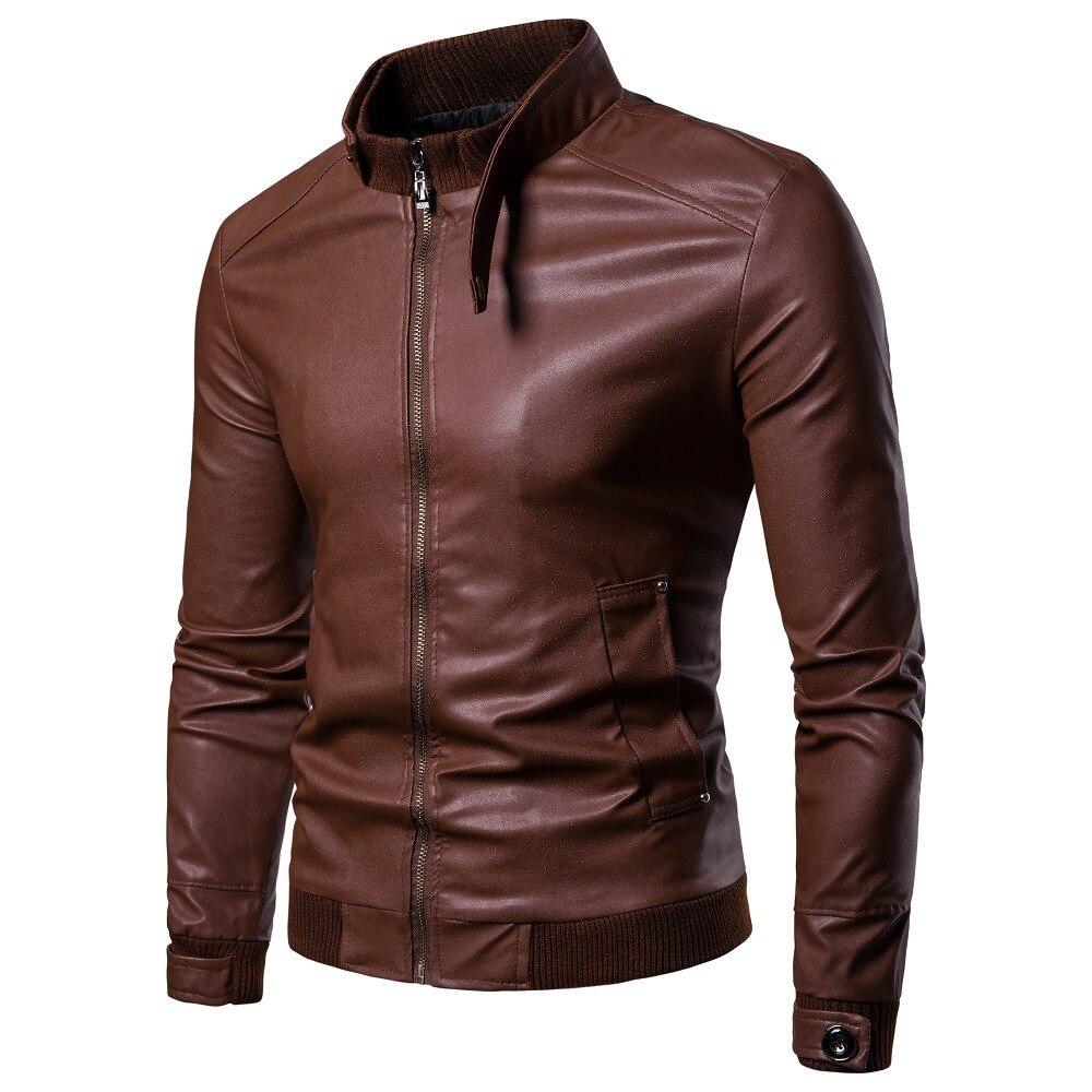 2018 New Arrival Korean-style Locomotive Slim Fit Leather Coat Men Zipper England Fashion Leather Jacket