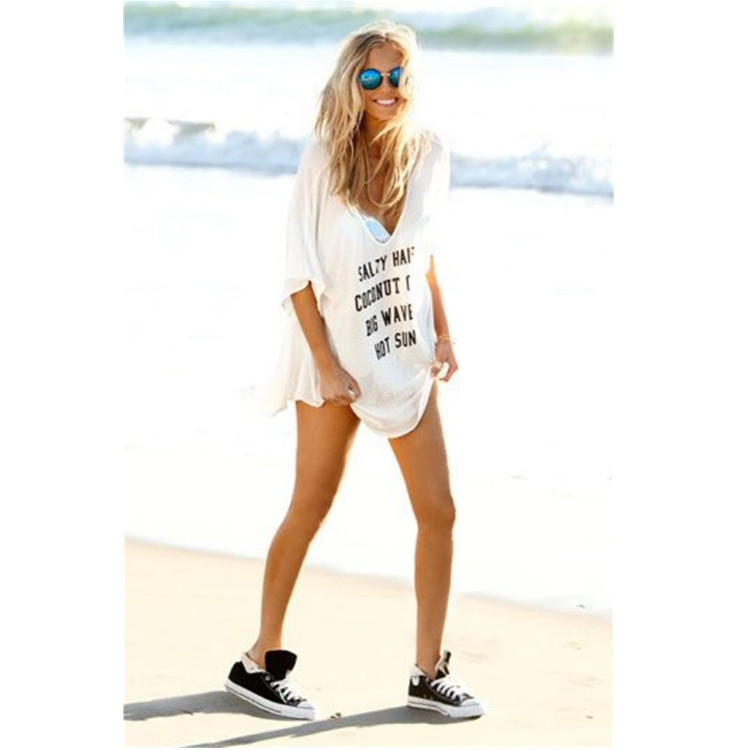 Hot Selling Europe And America Stretch Cotton Printed Lettered Beach Skirt Style Large Size Bikini Cover-up-Holiday Skirt