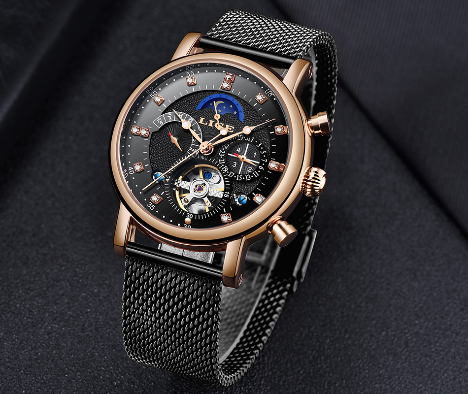 He6477ab0fe3642f594bac72a0b2ee825O LIGE Gift Mens Watches Brand Luxury Fashion Tourbillon Automatic Mechanical Watch Men Stainless Steel watch Relogio Masculino