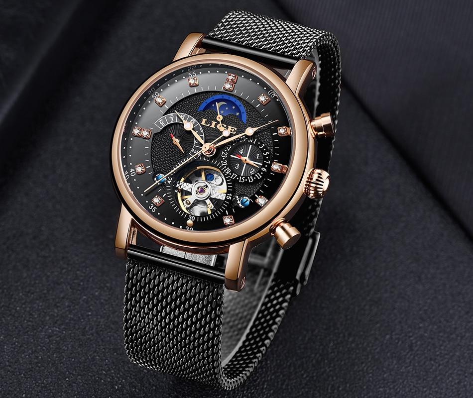 luxo moda tourbillon automático relógio mecânico masculino
