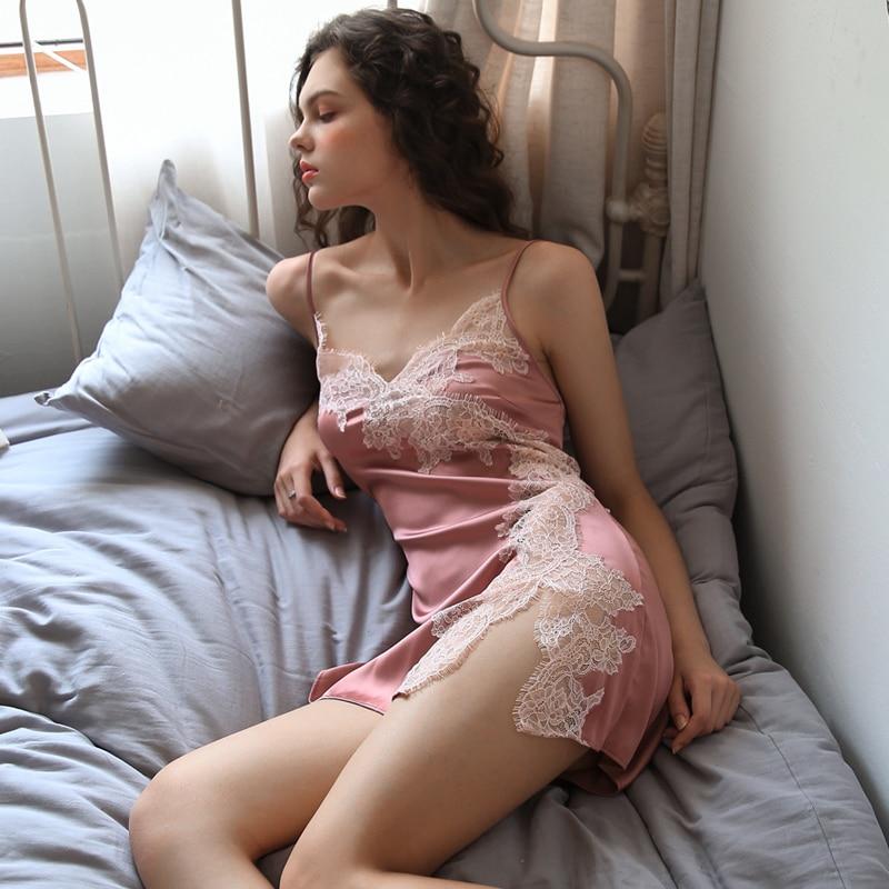 Image 5 - Summer Sexy Nightgown for Women Hollow Lace Seduction Ice Silk Nightwear SleepwearLingerie Slits Nightdress V neck NightieNightgowns & Sleepshirts   -