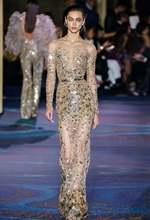 2019 вечернее длинное платье модное Прозрачное с круглым вырезом