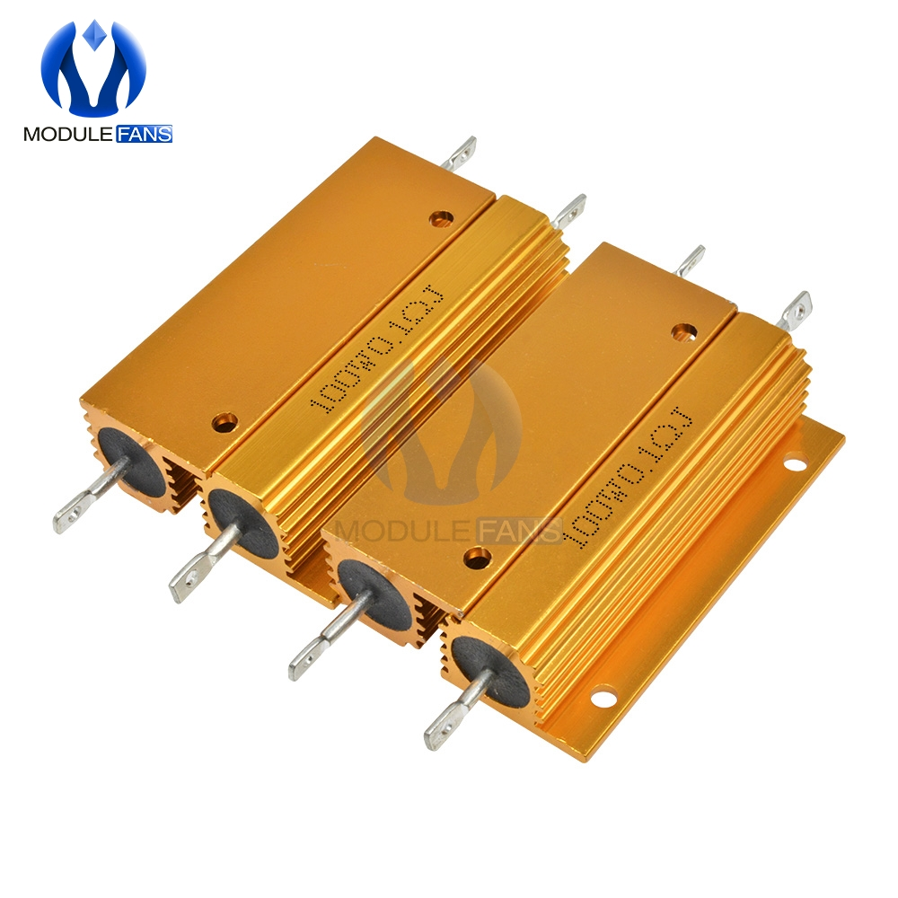 10 pçs escudo de alumínio alojado caso power wirewound 100 w resistor 0.5/1/2/4/6/8/10/20/50/100 ohm