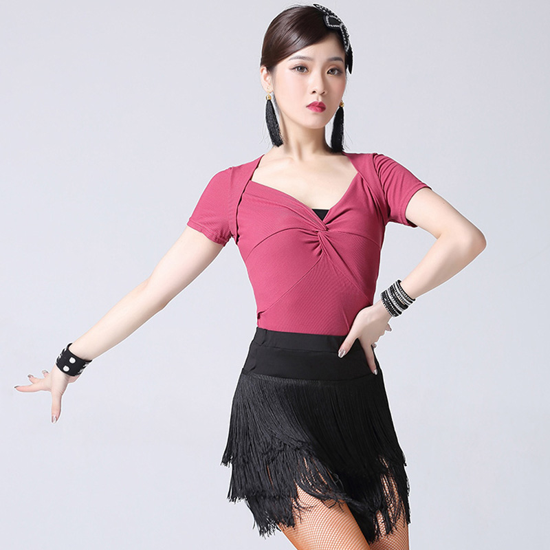 Latin Dance Costume Female Adult Dancer Practice Clothes Professional Latin Competition Dresses Short Style Fringe Skirt DQL2233