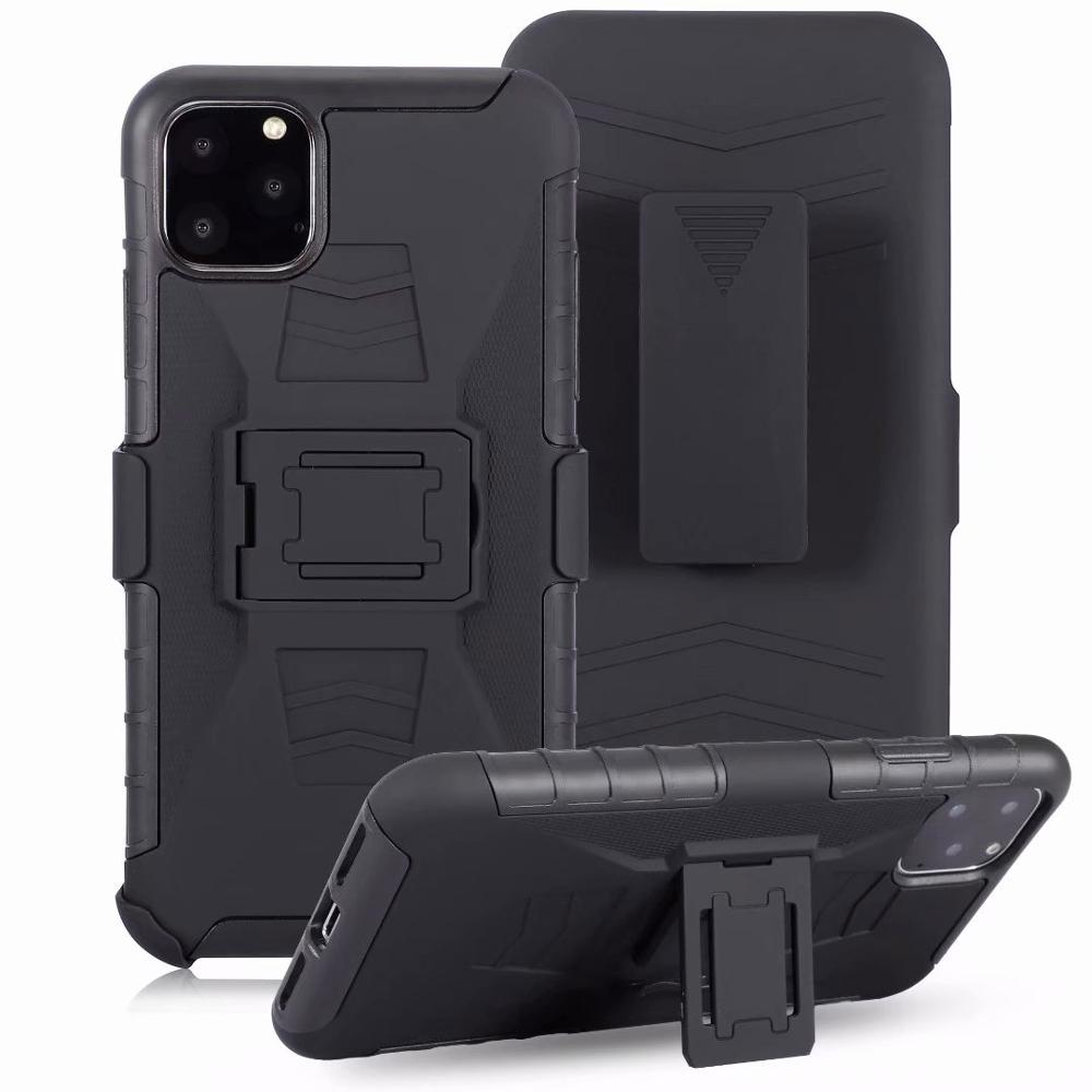 For iphone 11pro XS Max Luxury Armor Shockproof Holster Silicone Hard Case For iphone 8 7 6s Plus 5s Cell Phone Shell Cover Bags