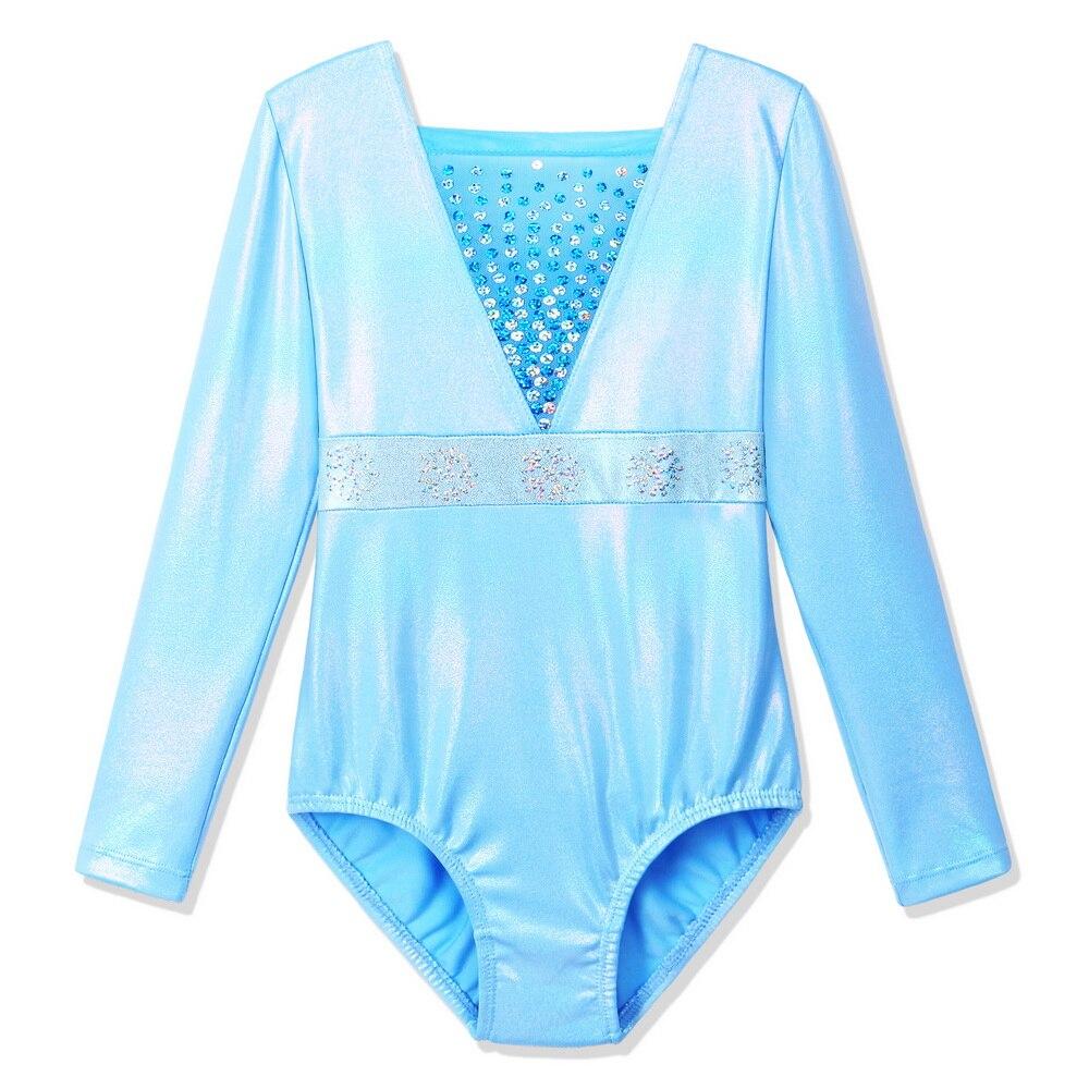 BAOHULU Sky Blue Long Sleeve Gymnastics Leotards For Girls Toddler Kids Sequins Snowflake Gym Suit Athlete Training  Bodysuit