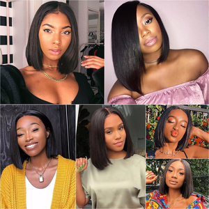 Image 4 - CCollege Bob 13x4 Lace Front Wigs For Black Women Brazilian Straight Remy Human Hair Short Lace Closure Bob Wigs With Baby Hair