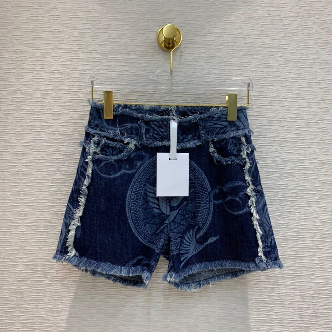 2020 New Runway Brand High-end Blue Denim Women Tassel Patchwork Bird Plant Print High Waist Jeans Sexy Hot Short shorts 1