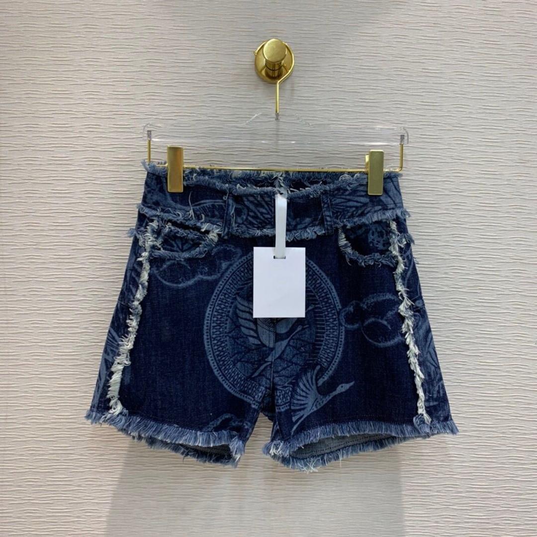 2020 New Runway Brand High-end Blue Denim Women Tassel Patchwork Bird Plant Print High Waist Jeans Sexy Hot Short shorts 1