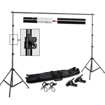 Photography Background Stand Support System Kit for Photo Studio Muslin Backdrops, Paper and Canvas with  Carrying Bag