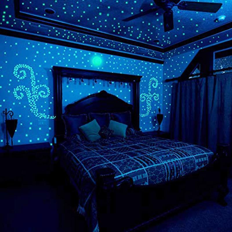 100Pcs/pack Fluorescent Stars Luminous Toys For Children's Bedroom Storage Rooms Baby Kids Glow Pentagram Adhesive Stickers