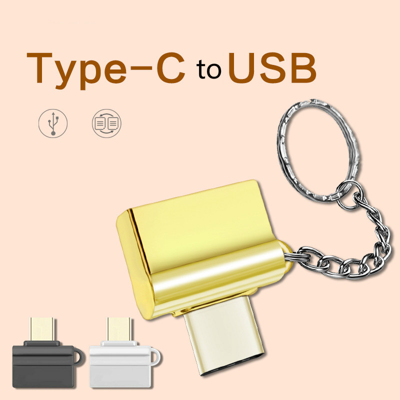Type C To USB 2.0 Converter Type-C OTG Adapter USB C Cable For Samsung Huawei Letv Macbook Matebook OTG Converter With Key Chain