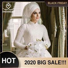 יוקרה מוסלמי אפליקציות חתונת שמלת Swanskirt AZ01 בציר נסיכת כדור שמלה ארוך שרוול סאטן כלה שמלת Vestido דה noiva
