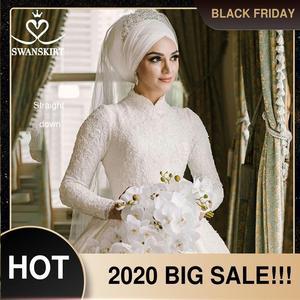Image 1 - יוקרה מוסלמי אפליקציות חתונת שמלת Swanskirt AZ01 בציר נסיכת כדור שמלה ארוך שרוול סאטן כלה שמלת Vestido דה noiva