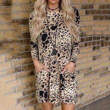Леопардовое мини платье осенние модные Плиссированные Свободные