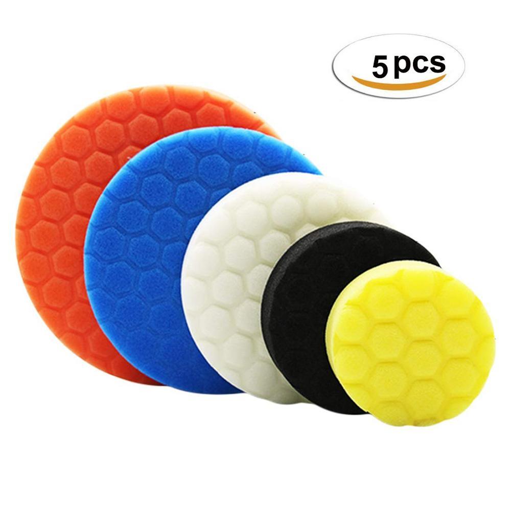 5pcs Hexagonal Polished Pad Set Sponge Disc Buffing Sponge Waxing Polishing Pad Kit Set For Car Polisher Buffer 3/4/5/6/7 Inches