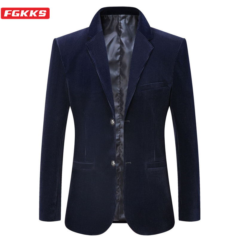 FGKKS Brand Blazers Mens Autumn Winter Corduroy Business Casual Suit Jackets Men High Quality Formal Blazer Coat Male