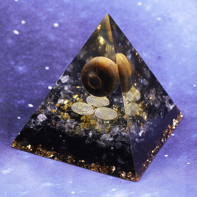 Orgonite Pyramid Chakras Tiger Eye Orgon Energy Crystals Obsidian Original Home Office Decor Resin Reiki Gift Decoration 2