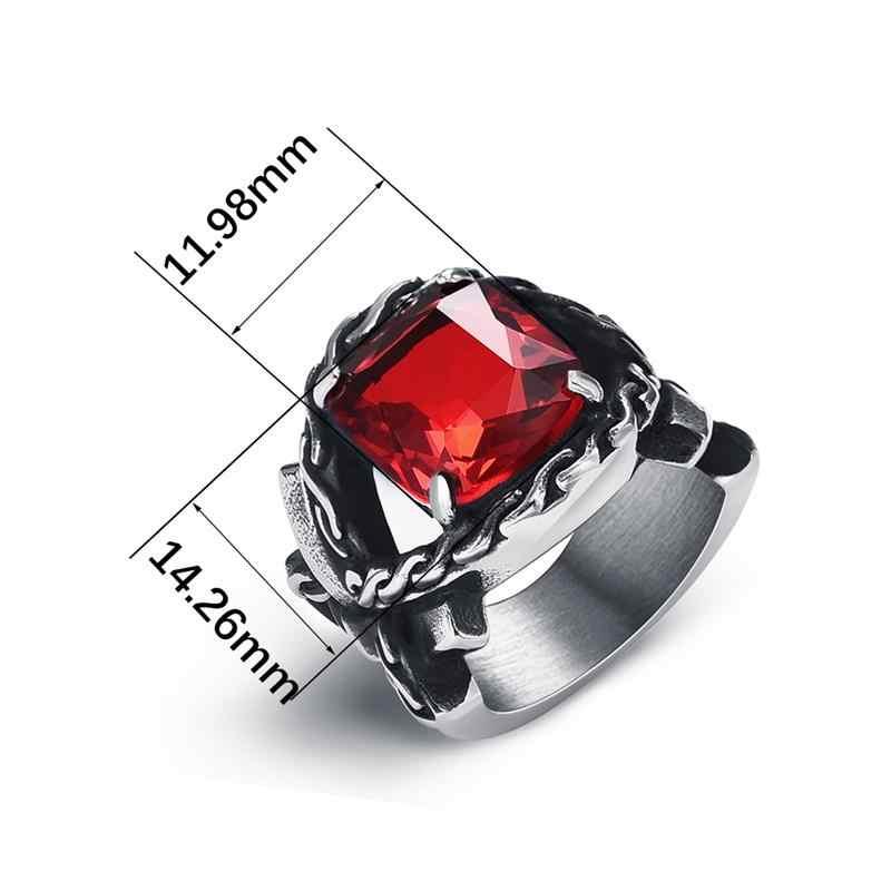 Jiayiqi Big Zircon แหวนหิน VINTAGE Silver เงิน TITANIUM STEEL ใหม่แฟชั่น Charm เครื่องประดับชายคุณภาพสูงแหวน