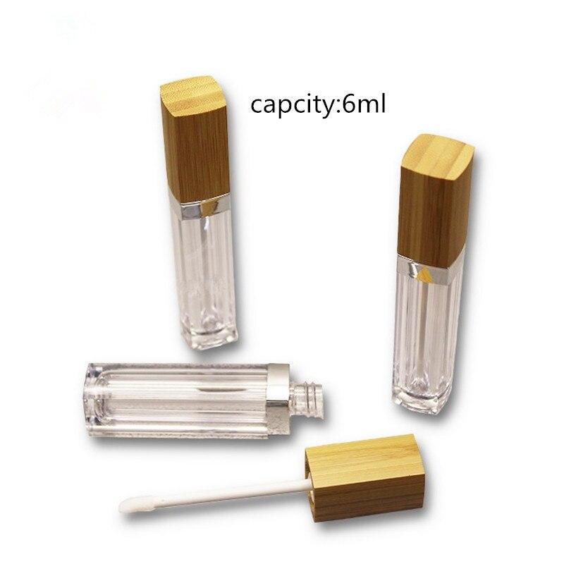 6ml vide brillant à lèvres Tube clair baume à lèvres Tubes conteneurs rouge à lèvres mode bouteilles rechargeables brillant à lèvres Tubes avec couvercle en bambou