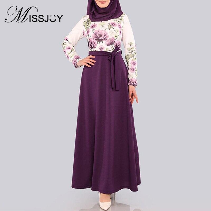 MISSJOY мусульманское женское платье Abaya 2020 модное цветочное печатное платье с высокой талией и бантом в Дубае турецкое повседневное кимоно женское платье с длинными рукавами|Мусульманская одежда|   | АлиЭкспресс