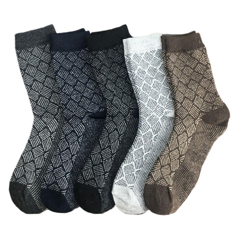 5 Pairs Mens Vintage Faux Wool Knit Crew Socks Color Block Stripes Warm Hosiery 2019