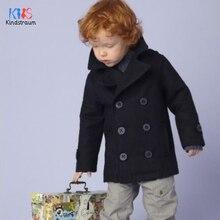 Пальто из шерсти и смеси для малышей Толстая шерстяная куртка для мальчиков осенне-зимняя флисовая подкладка, пальто, куртка для мальчиков, Толстая теплая одежда DC187