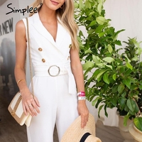 Simplee Elegant double breasted plus size jumpsuit women Summer sashes striped white jumpsuits Casual female wide leg overalls