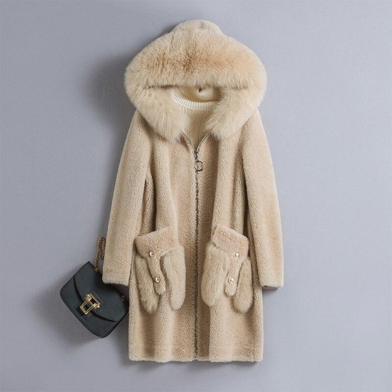 Fox Fur Collar 100% Wool Jacket Real Fur Coat Autumn Winter Coat Women Clothes 2020 Korean Vintage Sheep Shearling Tops ZT3886