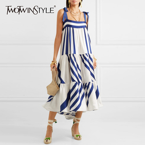 TWOTWINSTYLE Striped Spaghetti Strap Dress 2020 Summer Clothes For Women Streetwear Boho Sleeveless A Line Elegant Long Dresses