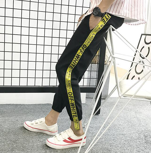 Popular Brand Webbing Pants Capri Pants Casual Sports Skinny 2018 Summer Ankle Banded Pants Elastic Pants Men's Sweatpants Trous