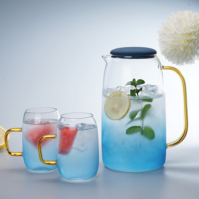 Gradient Color Marble Cold Water Glass Bottle High Temperature Resistant Glass Jar Jug Kettle   OCT998
