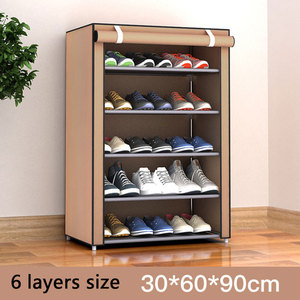 Image 4 - Simple Non woven Cloth Fabric Shoe Cabinet Multi layer Assembly Shoe Rack Folding Dustproof Shoe Storage Rack Shelves