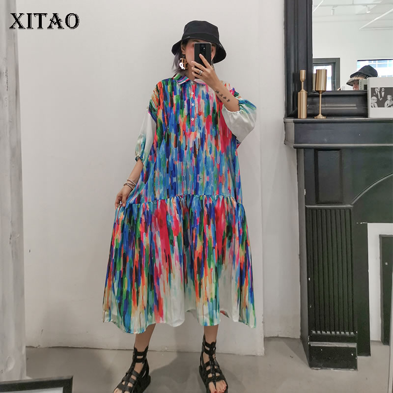 XITAO Print Pattern Plus Size Maxi Dress Women Clothes Short Sleeve Pullover Turn-down Collar Fashion 2019 New Wild WBB4072