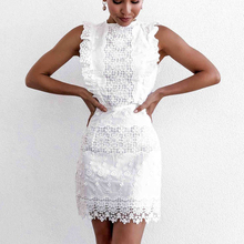Summer Sexy embroidered cutout lace stitching sleeveless ruffles Dress Women's Beach Party Dress