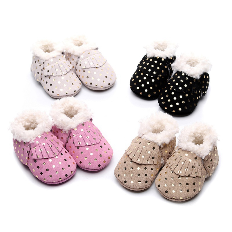 Winter Warm Soft Soled Newborn Infant Cotton Plush Shoes Hot Baby Boys Girls Tassel Anti-Slip Booties Snow Boots Baby Boots