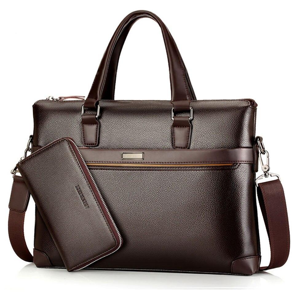 Men's PU Leather Laptop Bag Multi Pockets Document Holder Briefcase For Men Office Lawyer Messenger Bag
