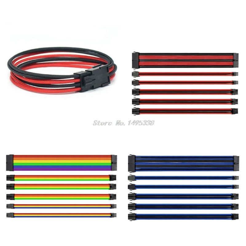 Basic Extension Cable Kit - Mixed Color Sleeved ATX 24Pin, EPS 4+4Pin, PCI-E 6+2Pin, PCI-E 6Pin Power Extension Cable  Whosale