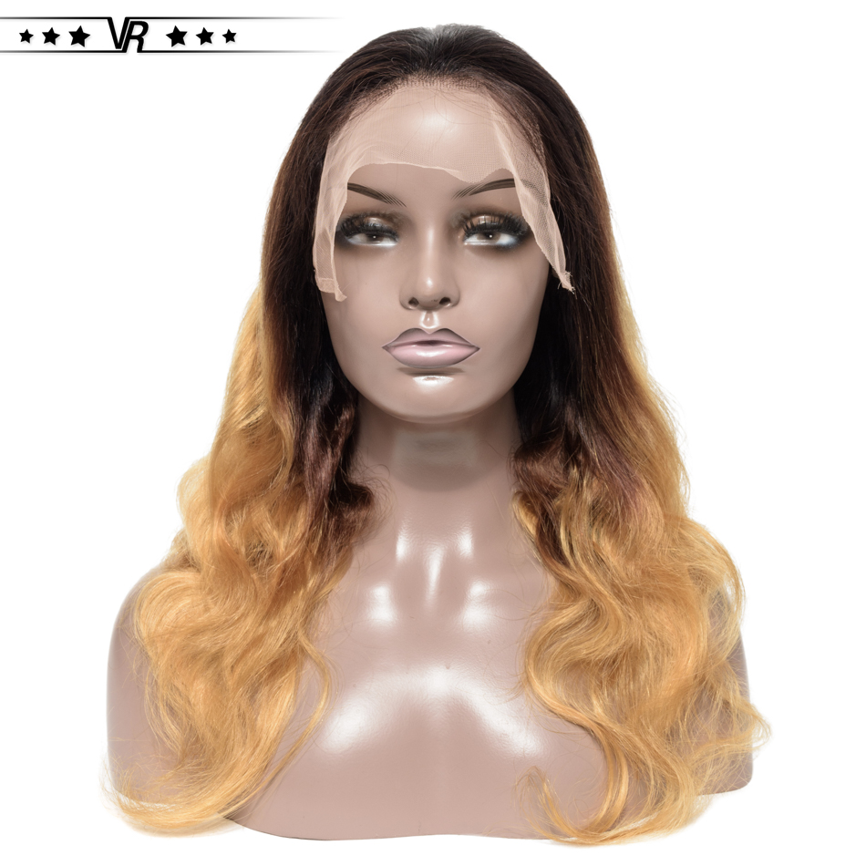 Ombre Lace Front Human Hair Wigs For Black Women 100% Brazilian Hair 1B/4/27 Color Pre Plucked Lace Front Wig