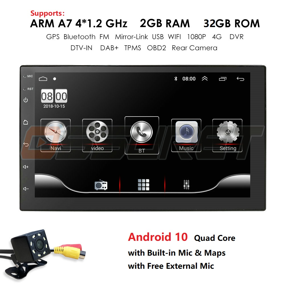2din rádio do carro android jogador multimídia autoradio 2 din 7 2.2.2.5d tela gps bluetooth fm wifi jogador de áudio automático estéreo obd2 mic