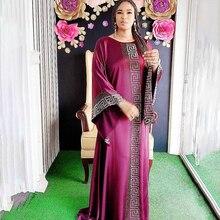 Robe Dashiki-Dress Abaya Beading Gowns-Africa Dubai Maxi African-Design Silk Long-Sleeve
