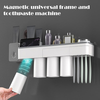 Suporte de escova de dentes conjunto sem parede de perfuração suporte de copo magnético creme dental squeezer ud88