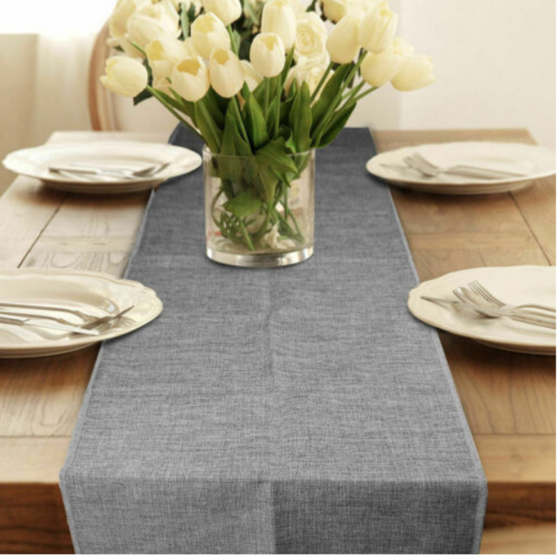Gray Lace Table Runner Natural Jute Burlap Imitated Linen Table Cloth Party Rustic Wedding Decor Home Textile