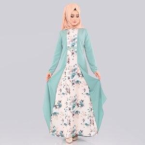 Image 2 - מזויף שני חלקים סט חיג אב שמלת ערבי בגדים אסלאמיים העבאיה נשים הדפסת פרחוני מנהג עממי המוסלמי מקסי שמלות דובאי slim קפטן
