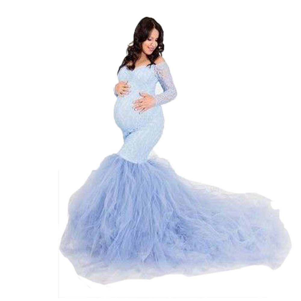 Elegence Maternity Photography Props Dresses Lace Mesh Long Pregnancy Dress For Pregnant Women Maxi Maternity Gown Photo Shoots